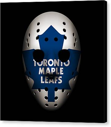 Toronto Maple Leafs Canvas Print - Maple Leafs Goalie Mask by Joe Hamilton
