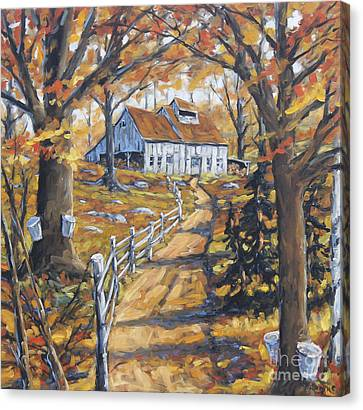 Maple Sugar Bush  Road By Prankearts Canvas Print by Richard T Pranke