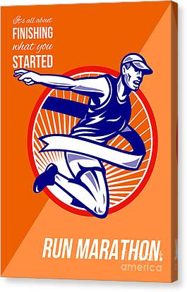Marathon Finish What You Started Retro Poster Canvas Print