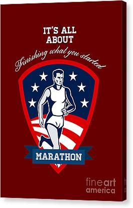 Marathon Runner Finish What You Start Poster Canvas Print
