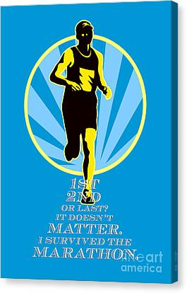 Marathon Runner First Retro Poster Canvas Print