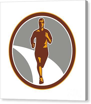 Marathon Runner Front Circle Retro Canvas Print by Aloysius Patrimonio