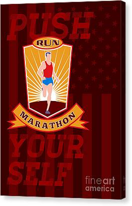 Marathon Runner Push Yourself Poster Front Canvas Print by Aloysius Patrimonio