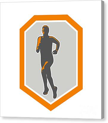 Marathon Runner Running Front Shield Retro Canvas Print