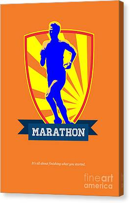 Marathon Runner Starting Run Retro Poster Canvas Print