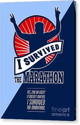 Marathon Runner Survived Poster Retro Canvas Print by Aloysius Patrimonio