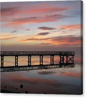 Canvas Print featuring the photograph Marbled Pier by Suzy Piatt