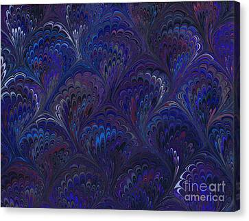 Marbleized Endpaper In Blues And Lavenders Canvas Print by Melissa A Benson
