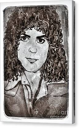 Marc Bolan In Monochrome 2 Canvas Print by Joan-Violet Stretch