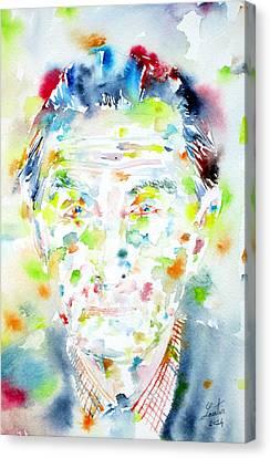 Marcel Duchamp - Watercolor Portrait Canvas Print by Fabrizio Cassetta