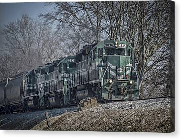 March 11. 2015 - Evansville Western Railway At Mount Vernon Indiana Canvas Print by Jim Pearson