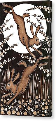 March Hares, 2013 Woodcut Canvas Print by Nat Morley