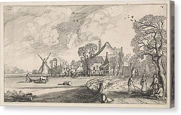 March, Jan Van De Velde II Canvas Print by Jan Van De Velde (ii)
