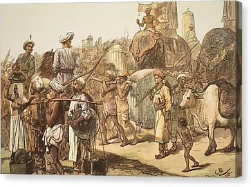 March Of The Indian Army, Engraved Canvas Print by Gordon Frederick Browne