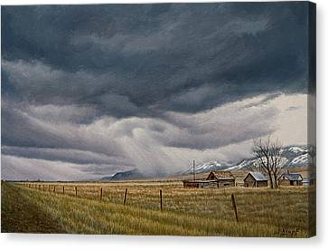 Stormy Skies Canvas Print - March Sky-montana by Paul Krapf