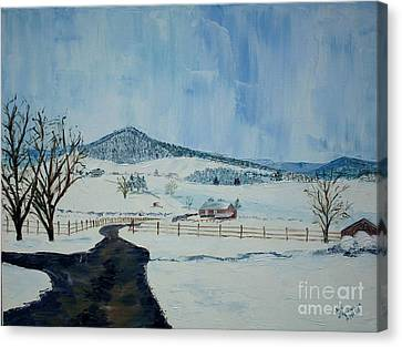March Snow On Mole Hill - Sold Canvas Print by Judith Espinoza