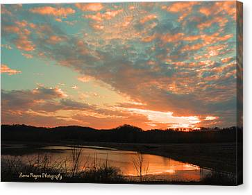 Canvas Print featuring the photograph March Sunset With Signature by Lorna Rogers Photography