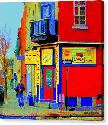 Marche Unique Cafe Sandwich Depanneur Rue St. Jacques St. Henri  Street Scenes Carole Spandau Canvas Print by Carole Spandau