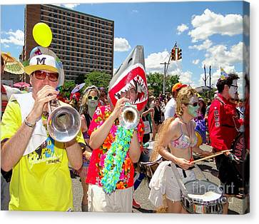 Canvas Print featuring the photograph Marching Band by Ed Weidman