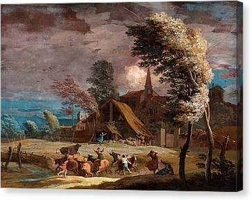 Stormy Canvas Print - Marco Ricci, Italian 1676-1729, A Stormy Landscape by Litz Collection