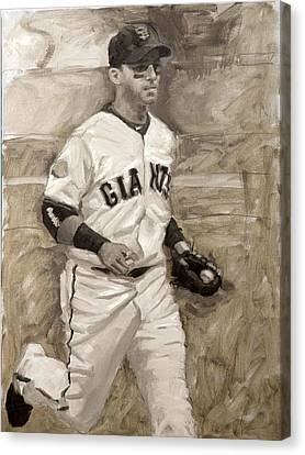San Francisco Giants Canvas Print - Marco Scutaro by Darren Kerr