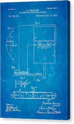 Marconi Radio Patent Art 1897 Blueprint Canvas Print by Ian Monk