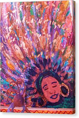 Mardi Gras Girl Revisited Canvas Print by Anne-Elizabeth Whiteway