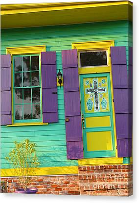 Mardi Gras House Canvas Print by Jeanne  Woods