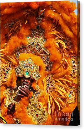 Mardi Gras Indian Orange Canvas Print by Jeanne  Woods