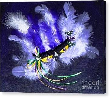 Canvas Print featuring the painting Mardi Gras On Purple by Alys Caviness-Gober