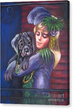 Mardi Gras Puppy Canvas Print by Beverly Boulet