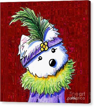 Mardi Gras Westie Sur Rouge Canvas Print by Kim Niles