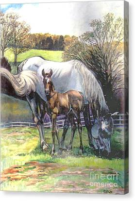 Mare And Foal Canvas Print by Stan Esson