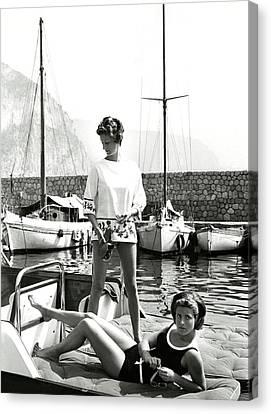 Marella Agnelli And Princess Pignatelli On A Boat Canvas Print