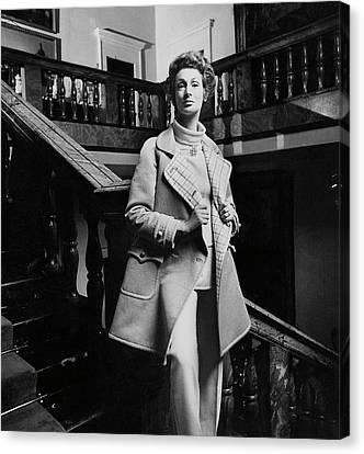 Marella Agnelli Wearing A Courreges Raincoat Canvas Print