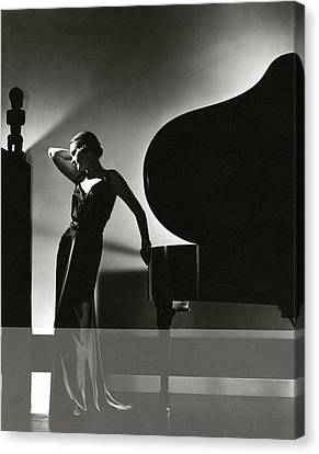 Margaret Horan Posing Beside A Piano Canvas Print by Edward Steichen