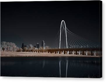 Margaret Hunt Hill Bridge And Dallas Skyline In Infrared Canvas Print