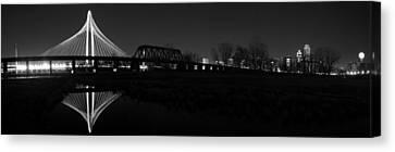 Margaret Hunt Hill Bridge Dallas Skyline Black And White Canvas Print by Jonathan Davison