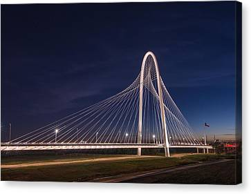 Margaret Hunt Hill Bridge In Dallas At Night Canvas Print