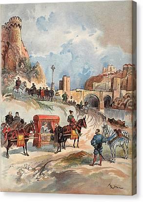Diplomacy Canvas Print - Margaret Of France Visiting by Albert Robida