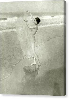 Margaret Severn On A Beach Canvas Print by Arnold Genthe