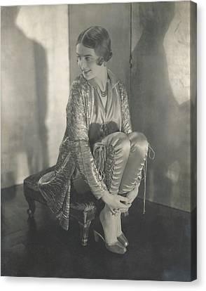 Shea Canvas Print - Margaret Shea Sitting On A Footrest Wearing by Edward Steichen