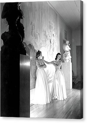 Debutante Canvas Print - Margery Abbet And Patricia Delehanty At The River by Horst P. Horst