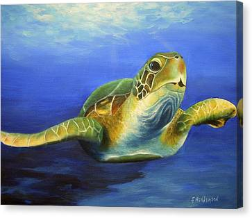 Margie The Sea Turtle Canvas Print by Francine Henderson