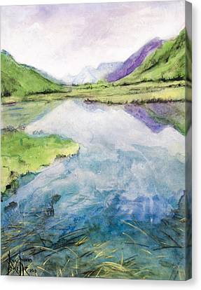 Canvas Print featuring the painting Margo's Mountains by Ron Richard Baviello