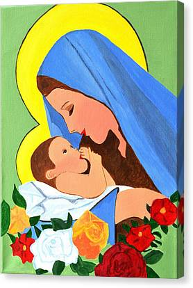 Canvas Print featuring the painting Maria And Baby Jesus by Magdalena Frohnsdorff