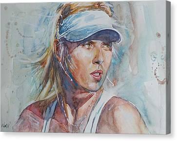 Australian Open Canvas Print - Maria Sharapova - Portrait 1 by Baris Kibar
