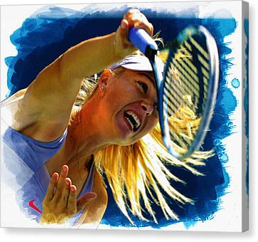 Maria Sharapova  In Action During The Women's Singles  Canvas Print by Don Kuing