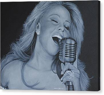 Canvas Print featuring the painting Mariah Carey by David Dunne