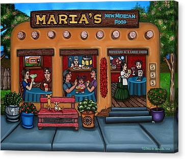 Chile Canvas Print - Maria's New Mexican Restaurant by Victoria De Almeida